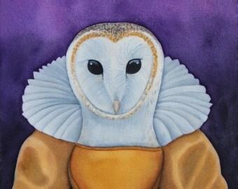 Watercolor Barn owl Art Anthropomorphic Art Animals in Clothes Animals in Suits Watercolor Bird Art Print Animal Portrait Animal Art Print