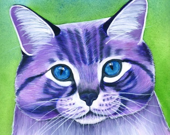 Watercolor Cat Art Print Cat Lover Gift Custom Cat Portrait Cat Lover Gift Watercolor Art Print Purple Cat Artwork Cat Illustration
