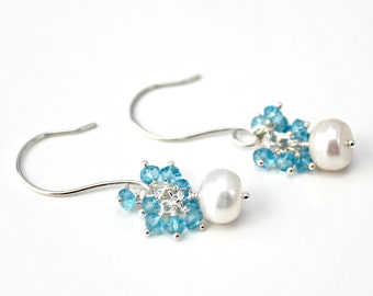 White Freshwater Pearl and Blue Topaz Sterling Silver Earrings / Dangle Earrings / Pearl Earrings / Wedding Jewelry / Bridal / E105