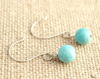 Turquoise Howlite and Sterling Silver Earrings / Minimalist Jewelry / Handcrafted Turquoise Earrings / E52