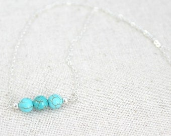 Turquoise Howlite Three Bead Silver Wire Wrapped Necklace / Sterling Silver Jewelry / Trio / Small Turquoise Bead / Simple Silver Necklace