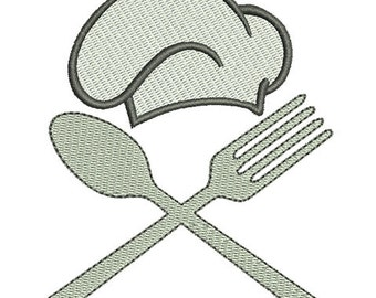 Fork Spoon Hat Embroidery Design - Instant Download