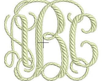 Rope Vine Monogram Embroidery Font Set - Instant Download