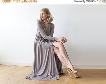 Maxi wrap taupe dress with slit, Long sleeves taupe dress