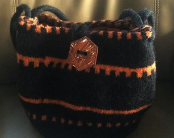 Black and Peach Felted Wool Purse