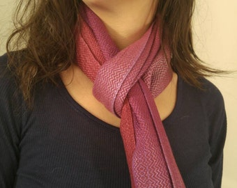 Handwoven hand dyed bamboo scarf- purples, reds