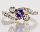 Antique Ring - Antique Victorian Platinum & 18k Yellow Gold Diamond and Sapphire Ring