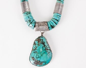 Vintage Necklace - Vintage Old Navajo Pawn 1940's Sterling Silver Large Turquoise Necklace