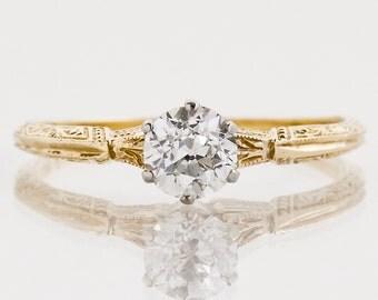 Antique Engagement Ring - Antique 14k Two-Tone Diamond Solitaire Engagement Ring