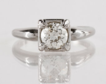 Antique Engagement Ring - Antique 1930s Platinum and Diamond Engagement Ring