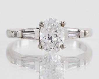 Vintage 14K White Gold Oval Diamond Engagement Ring