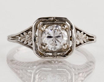 Antique Engagement Ring - Antique 14k White Gold Filigree Diamond Engagement Ring
