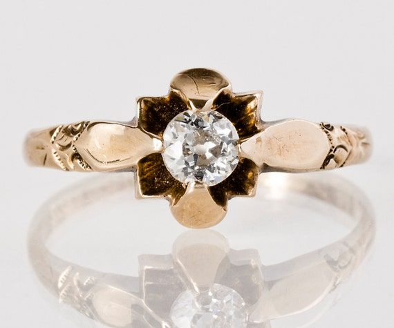 "Antique Engagment Ring - Antique 14k Rose Gold Engraved ""1913""  Diamond Engagement Ring"