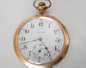 1906 Illinois Size 12 Pendant Pocket Watch, Works accurately
