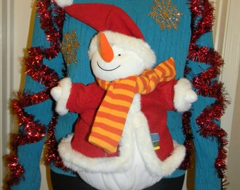 """Ugly Christmas Sweater """"Large Snowman"""""""