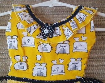 Bright Yellow Toaster Motif Ruffle Oven Door Kitchen Dish Towel Dress