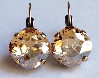 Swarovski Crystal 12MM Cushion Cut Lever- Back -Drop Earrings - Designer Inspired -Golden Shadow- On SALE 20. FREE SHIPPING