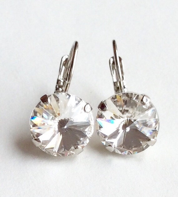 Swarovski Crystal 12MM Drop Earrings Classy & Feminine - Crystal Clear - Or Choose Your Favorite Color and Finish -  FREE SHIPPING