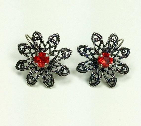 Swarovski Crystal 6mm Filigree Flower Earrings - Lt. Siam Red  -  Designer Inspired - FREE SHIPPING