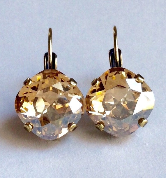 Swarovski Crystal 12MM Cushion Cut, Lever- Back Drop Earrings - Designer Inspired - Golden Shadow  - On SALE - FREE SHIPPING