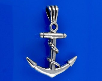 Sterling Silver Anchor Pendant, Solid Silver