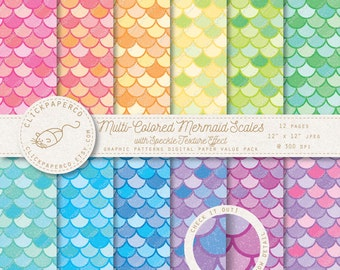 Mermaid Digital Paper Scales with speckle texture effect For Scrapbooking Invitations Cards crafts Instant Download fish jpeg diy scrapbook