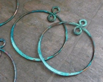 """Handmade 30mm Hammered Copper Patina """"add a dangle"""" hoops - MADE TO ORDER"""