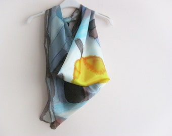 Hand dyed abstract square silk scarf Wearable art Home decor - ready to ship