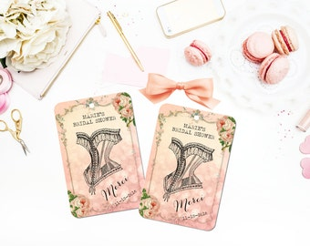 Corset Favor Tags, Merci, French Bridal Shower Tags, Paris Tags, Quincieñera  Tags, Custom, Pink, Cottage Chic, Lingerie Tags, Set of 10