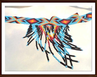 Native American Indian Necklace - Woven Seed Bead - Glass Choker w Leather Ties - 1940's - 1950's NAI Jewelry  Neck-4009a-070216025