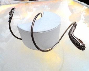 Sterling Silver Snake Bracelet - Spiral Arm Wrap - Fore Arm Bangle Cuff - Vintage Snake Signed 925 - 21.8 grams - Brac-6270a-070216050