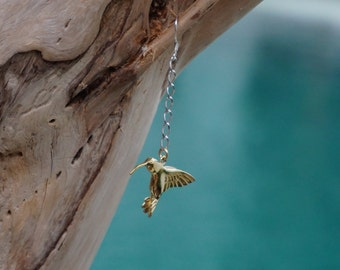 Hummingbird  earrings - brass