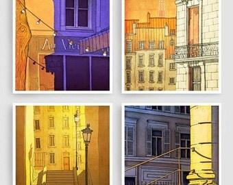 20% OFF SALE: Any FOUR Prints - Save 30 Percent,Set of four Illustrations,Paris Art Prints Poster Home decor Wall art Mixed media illustrati