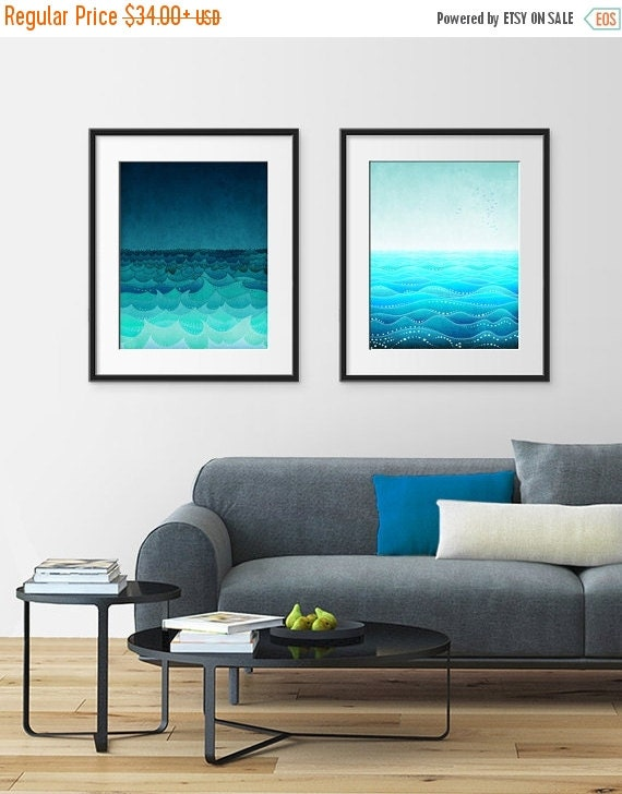 20% OFF SALE: SEA soul - Set of Two illustrations - Save 20 Percent,Illustrations Giclee Art prints Home decor Wall art Living room art Gift