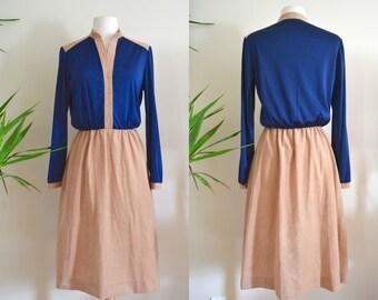 1960s Kay Windsor Two Toned Dress, Deep V Neck Long Sleeve Dress Retro Mid Century