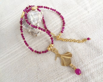 Semazen Necklace, Plum Purple Necklace, Gold Necklace,Semazen Pendant Necklace, OOAK Feminine,Elegant, Mother's Day Gift
