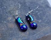 Short Moon & Star Dangle Dichroic Earrings
