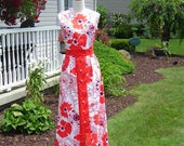 60's  C.M. Coventry print maxi, C. M. Coventry, red, white and blue cotton print  with red polt accents, Great for thise summer days!