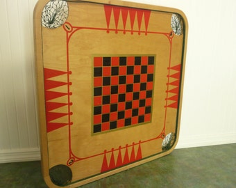 NICE Large Vintage Wooden Carrom Game Board, Table Top, Wall Decor - Collectible Game