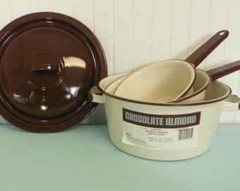 New Old Stock Vintage Enamel Cookware Set, Chocolate Almond Camping Enamelware Pans Pots - Vintage Travel Trailer Decor