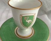 Antique Tea Set/4 Chocolate Cup Sets/Royal Berlin/Stork Coat of Arms/White with Green/22 Kt Gold Trim/Berlin Mark/Baby Shower Gift/Tea Party