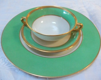 Vintage Bowl Sets/2 Dinner Plates/2 Cream Soup Bowls/Underplates/Lennox/ Green Border/Gold Trim/ Dinner Party/Wedding Gift/ Cabinet Display