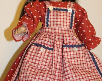 "Rust (brick red) dress and apron fits 18"" American girl doll"