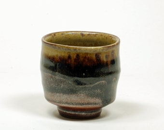 Amber and Tenmoku glazed cup (yunomi)