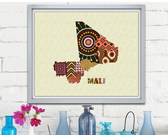 Mali Map Art Print Wall Decor, Mali Poster African Art Print,  Bamako Mali West Africa, African Map Poster
