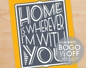 Home Is Wherever I'm With You Print, Large Canvas, Home Decor, Wall Art, Custom Wall Art, Custom wall decor, wall decor, home sweet home