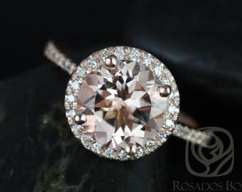 Rosados Box Kubian 9mm 14kt Rose Gold Round Morganite and Diamonds Halo Engagement Ring
