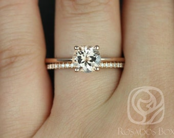 Skinny Alberta 7mm & Romani 14kt Rose Gold Round Morganite and Diamond Tulip Wedding Set (Other metals and stone options available)