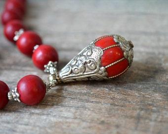 Chunky Tibetan pendant necklace Ethnic necklace Dark red wood bead necklace Boho necklace Tibet jewelry Bohemian jewelry