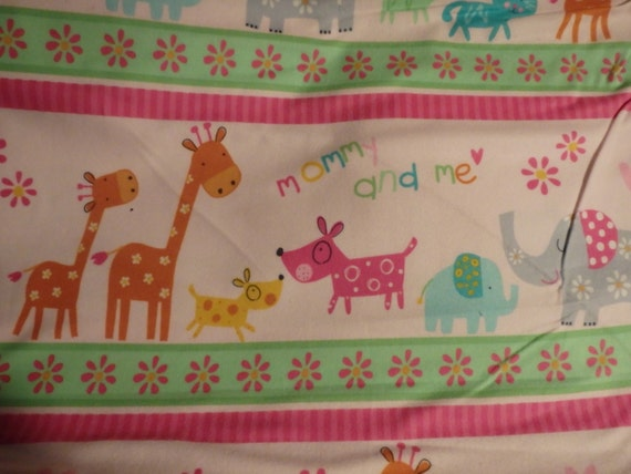Mommy me pink jungle flannel by the half yard for Children s flannel fabric by the yard